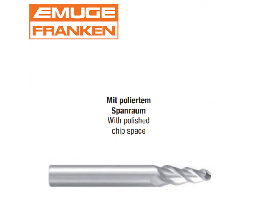 Franken Tapered Solid Carbide Ball Nose End Mills 3441 (with polished chip space)